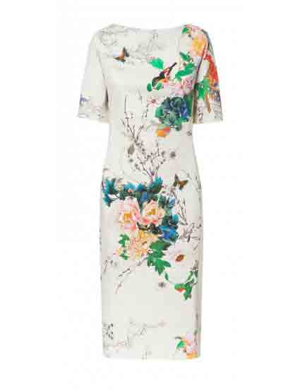 White Short Sleeve Peony and Bird Printed Cheongsam Dress