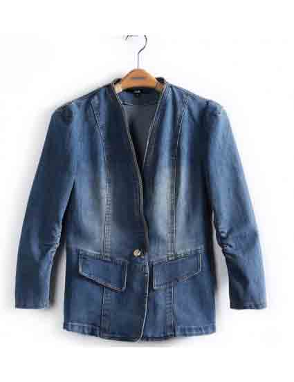 Blue Nine Point Puff Sleeve Draped Denim Jacket