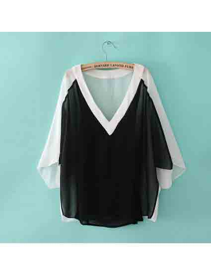 hite and Black Batwing Sleeve V-Neck Splice Blouse