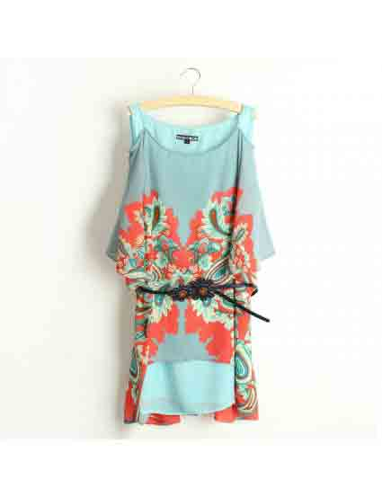 Acid Blue Off-Shoulder Half Sleeve Phoenix Printed Dress