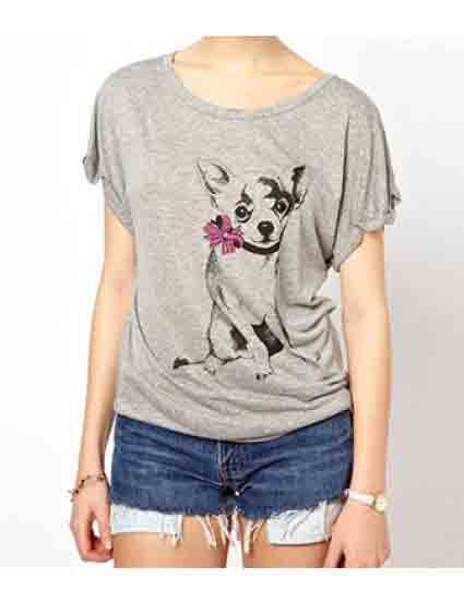 Grey Short Sleeve Bowknot Dog Printed T-Shirt
