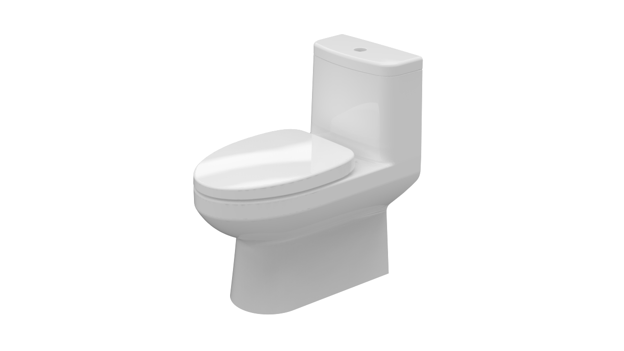 Siphonic one piece toilet bowl