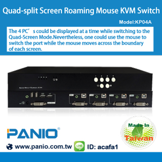 Quad-split Screen Roaming Mouse KVM Switch