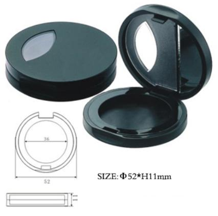 Oval plastic compact with mirror