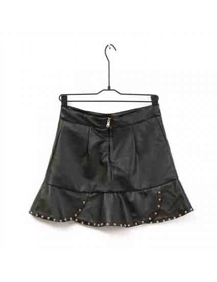 Black Rivet Stack Leather Short Skirt